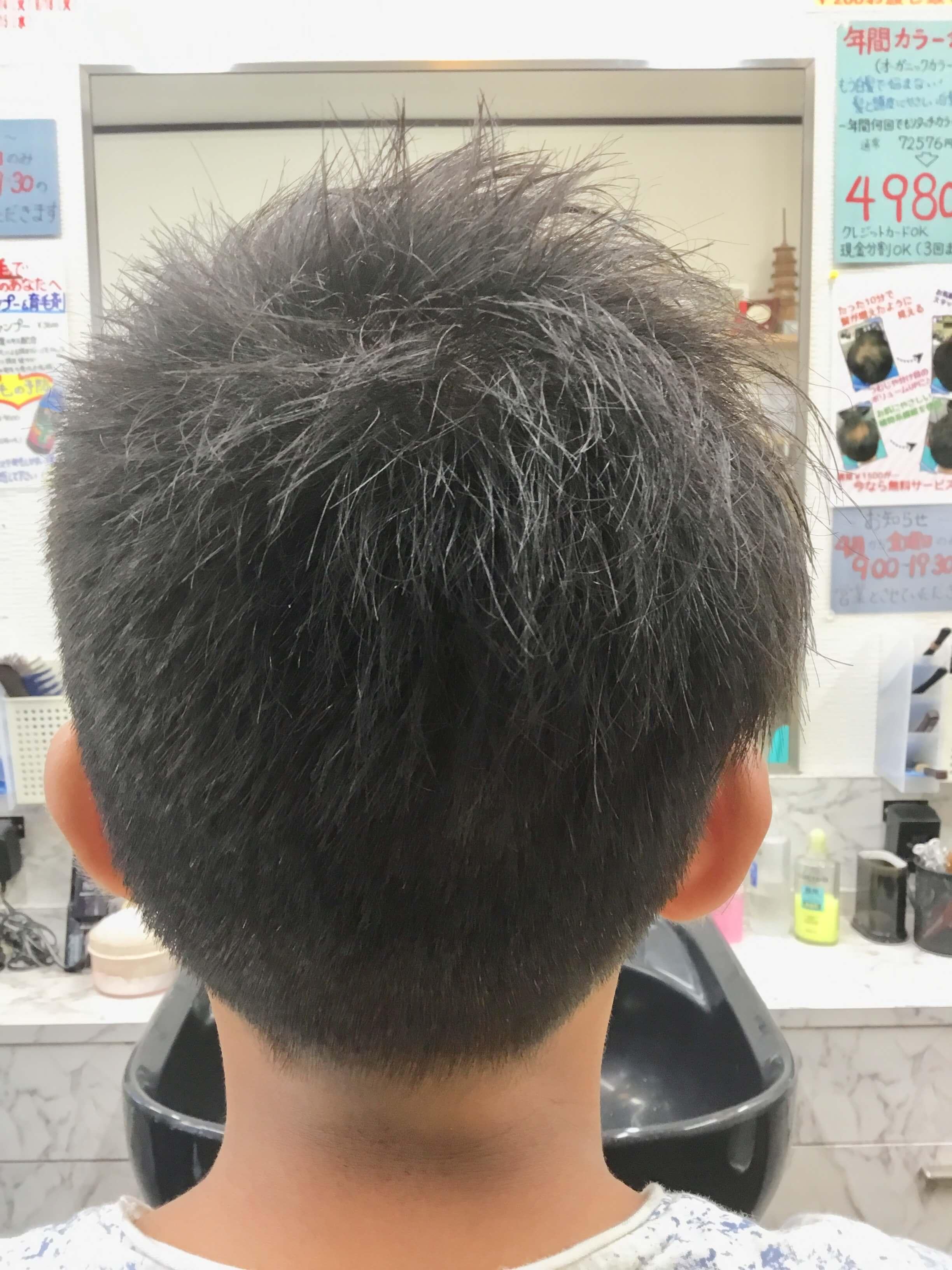 小学生アシンメトリーツーブロックスタイルを後ろから見た画像